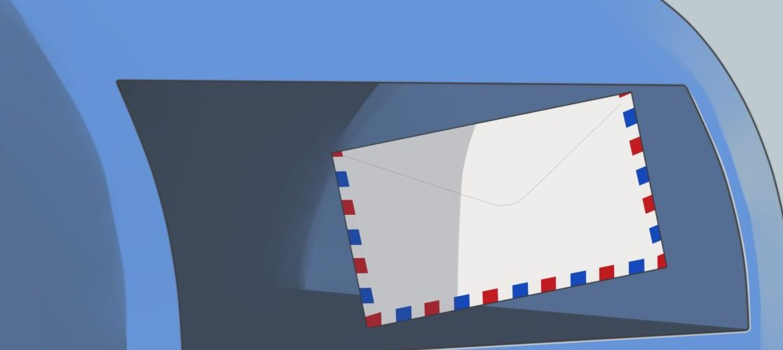drawing image of mailbox with letter going in